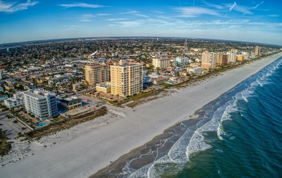 Aerial view of Jacksonville Beach neighborhood and seaside condos